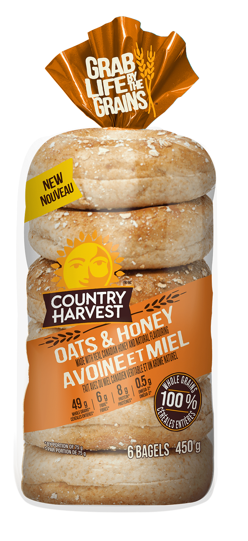 Country Harvest Oats and Honey bagel