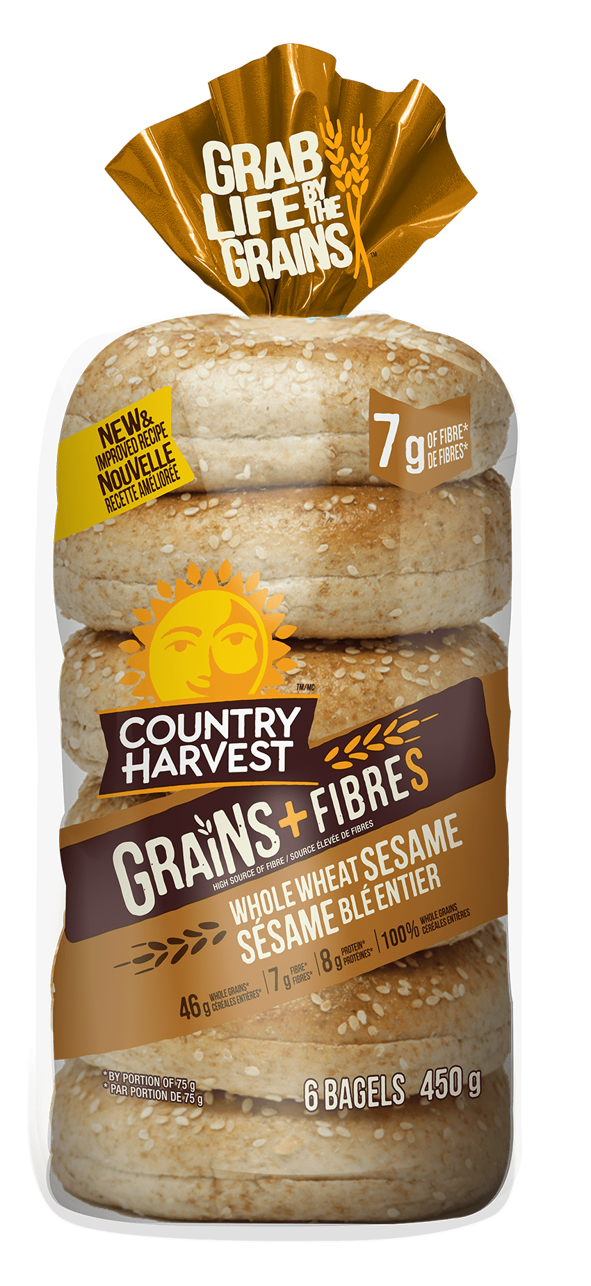 Country Harvest Whole Wheat Honey bagel